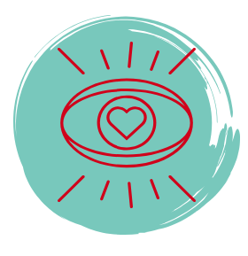 the logo representing the self-awareness, self-acceptance and action part of our program.  A heart inside an eye.