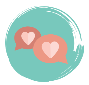Two word bubbles each with a heart inside representing how our healing begins as we share our hearts at meetings.